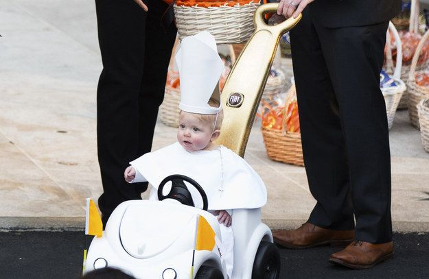 BABY POPE! With a Pope-mobile, naturally.   President Obama Couldn't Handle This Kid's Adorable Pope Halloween Costume