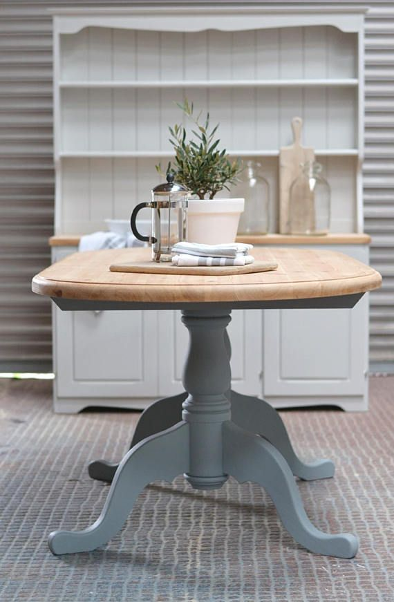 Painted Kitchen Table Grey Dining Table Oval Grey Table Etsy
