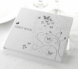 Βιβλίο ευχών λευκό με πεταλούδες