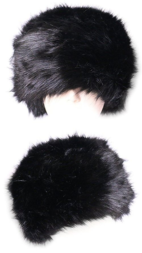 463fef0f203 KMystic Faux Fur Cossack Russian Style Winter Hat (Black)