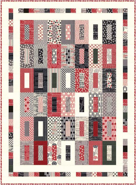 "The pattern is called ""All Lined Up"" (58"" x 79"")  and is designed by our very own Carol Lawson.  The fabric requirements for the pattern are:      1 Jelly Roll plus 2 additional 2-1/2"" strips     1-1/2 yard coordinating fabric for borders     5/8 yard binding     3-1/2 yard backing"