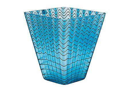 VASE. Signed Oiva Toikka Nuutajärvi Notsjö 1992. Blue and metal lustre filigree glass.