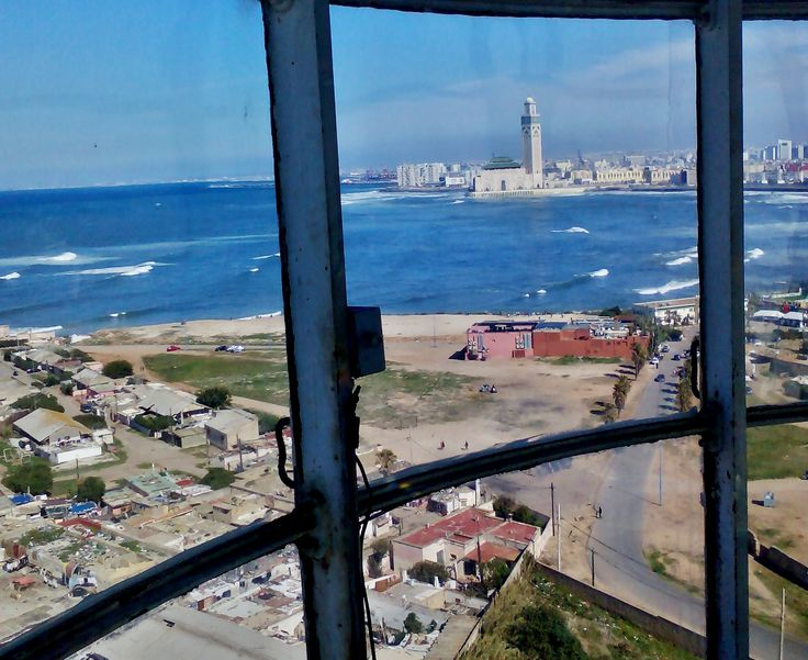 Casablanca and Hassan II mosque seen from the lighthouse