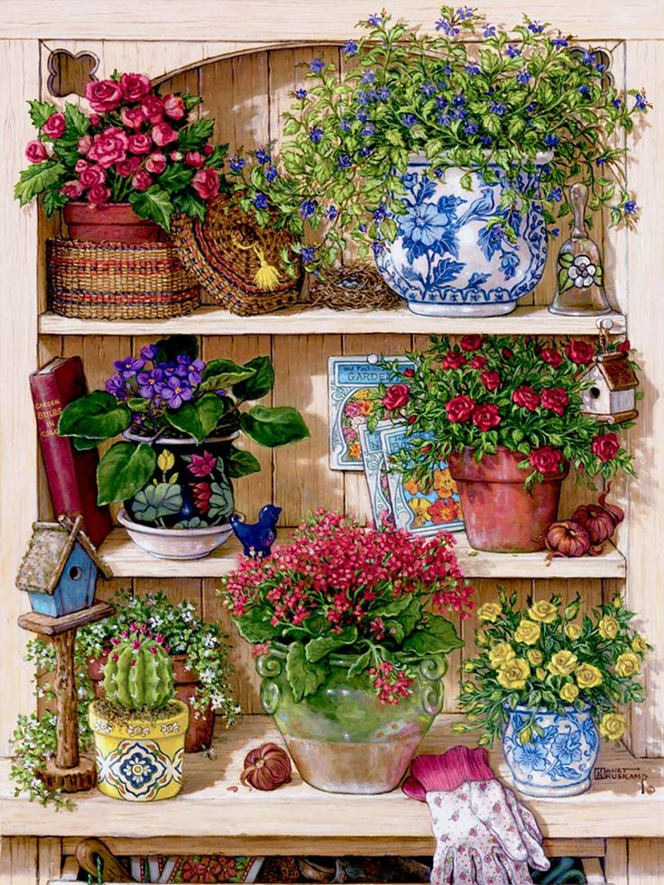 Flower Cupboard, one of Janet Kruskamp's Paintings of an overflowing cupboard of three shelves holding half a dozen different flowers, all p...