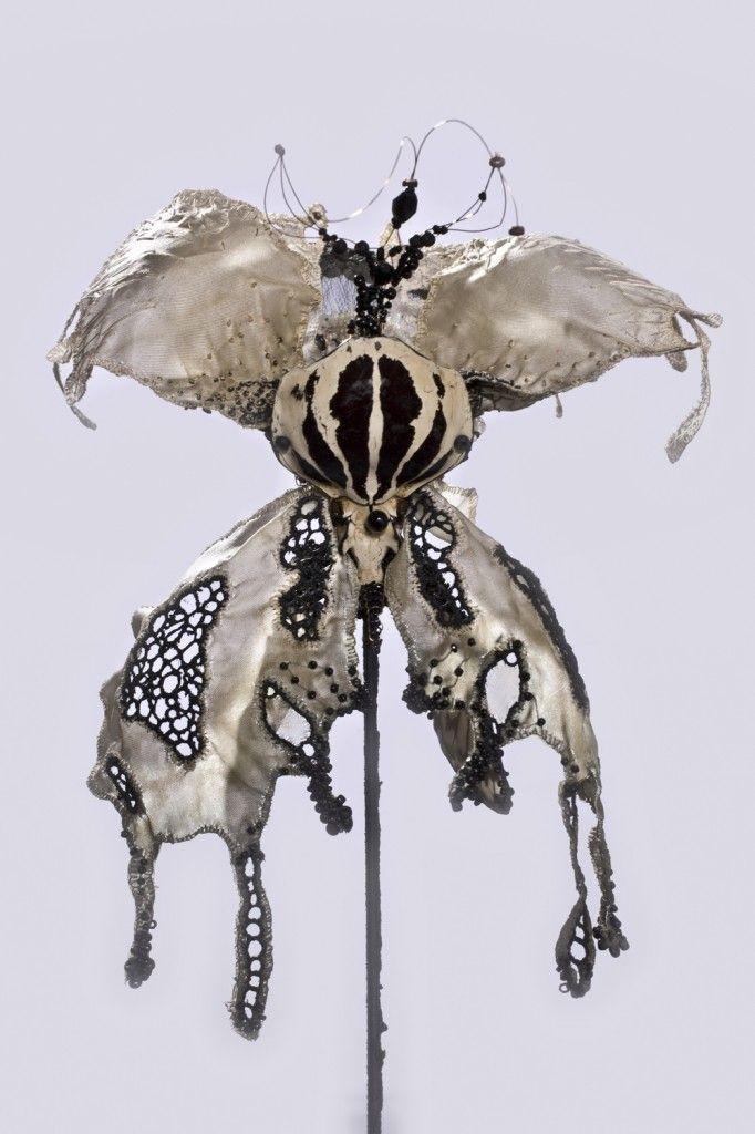 "Emmanuelle Dupont, embroiderer - textile sculptor_ ""Phalaenopsis"" or Orchid Butterfly."