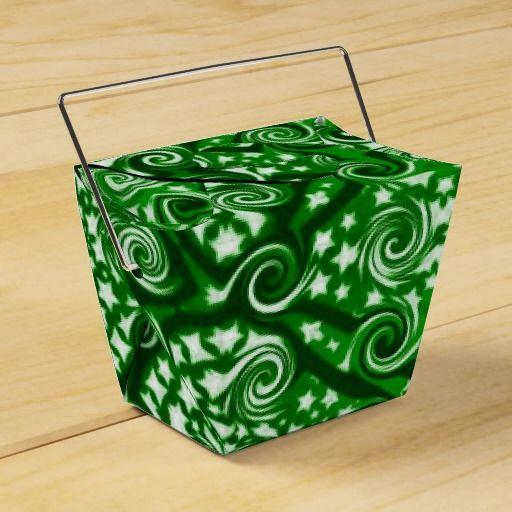 Green Stars and Swirls Pattern Take Out Favor Box