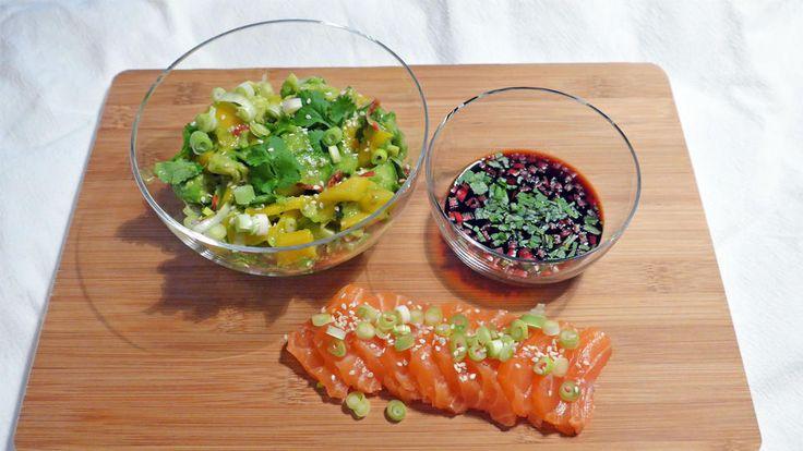 Sashimi med mangosalat og hjemmelaget ponzusaus