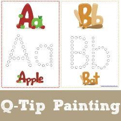ABC q-tip painting and other printables.  Put a number in each circle and paint by number to teach the correct writing order.
