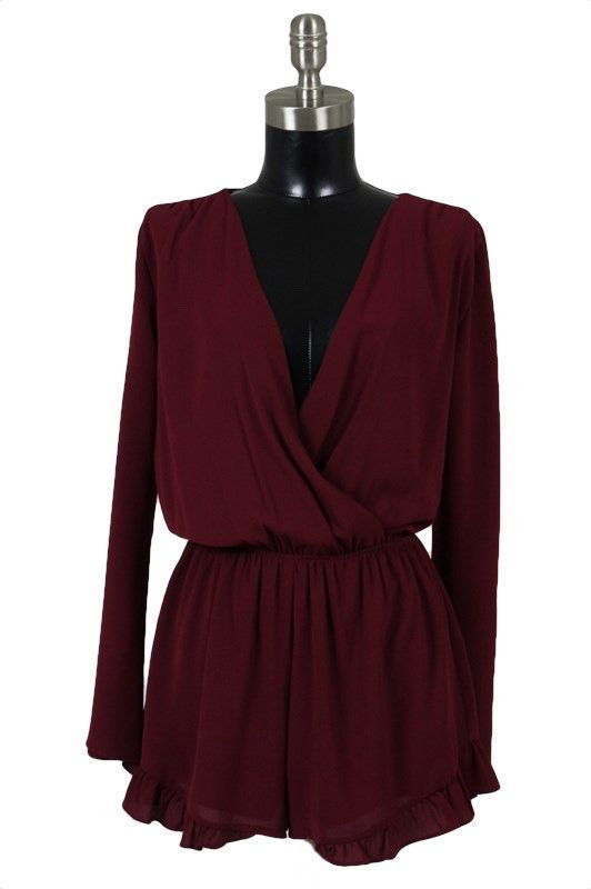 Game of Love Long Sleeve Romper - Burgundy