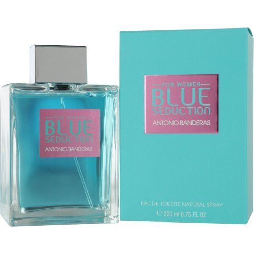 Antonio Banderas Blue Seduction Eau De Toilette Spray for Women, 6.7 Ounce by Antonio Banderas. Save 46 Off!. $35.38. Design House: Antonio Banderas. Fragrance Notes: cassis, mint, melon, bergamot, apple, ocean accord, oak moss, cappucino accord, musk, woods, cardamom, nutmeg. Recommended Use: casual. BLUE SEDUCTION by Antonio Banderas for WOMEN EDT SPRAY 6.7 OZ Launched by the design house of Antonio Banderas in 2008, BLUE SEDUCTION by Antonio Banderas possesses a blend of cassis, ...