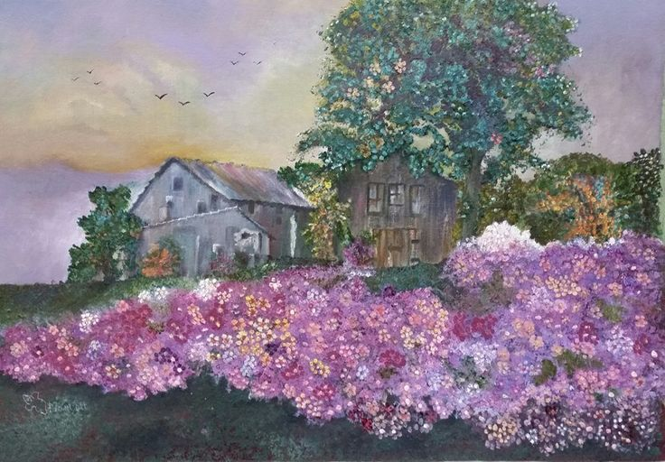 Cottage with flowers    Painted by Hester Marryatt   R2800