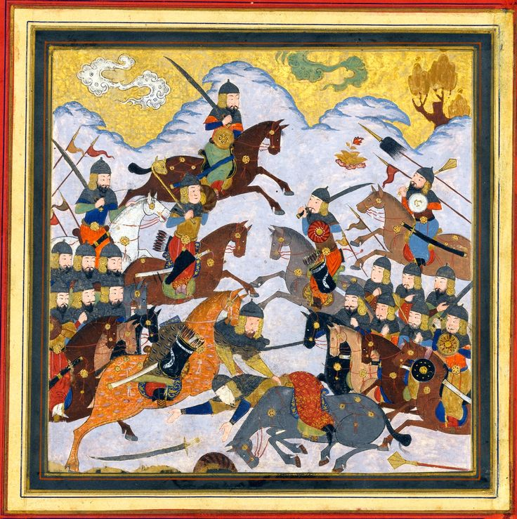 """Persian flanged maces being used in battle, """"Rustam Seizes Afrasiyab by the Girdle and Lifts him from the Saddle"""", Folio from a Shahnama (Book of Kings) Author: Abu'l Qasim Firdausi (935–1020). Folio from an illustrated manuscript Date: ca. 1430–40, India, Met Museum."""