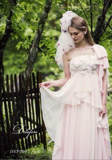 ブライズエプロンが有名♡ピンクのエンパイア ウェディングドレス・花嫁衣装・カラードレスのまとめ一覧♡