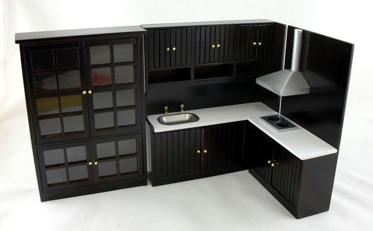 Dollhouse Miniature Modern Jacobean Dark Oak Kitchen Furniture Set