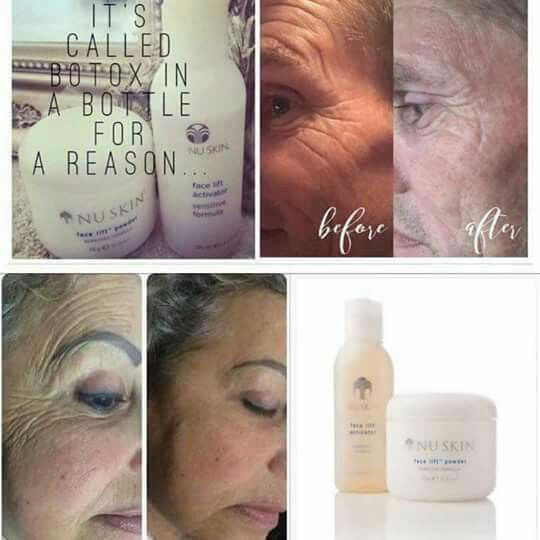 ❤This is our Botox in a Bottle❤  ️72 hour instant face lift! Mix the activator and powder together and brush upwards onto the face..... Leave for 20 mins....Awesome Results  with about 20 uses out of it its fab..YOU HAVE A FACE LIFT - Real People - Real Results!!!❤️