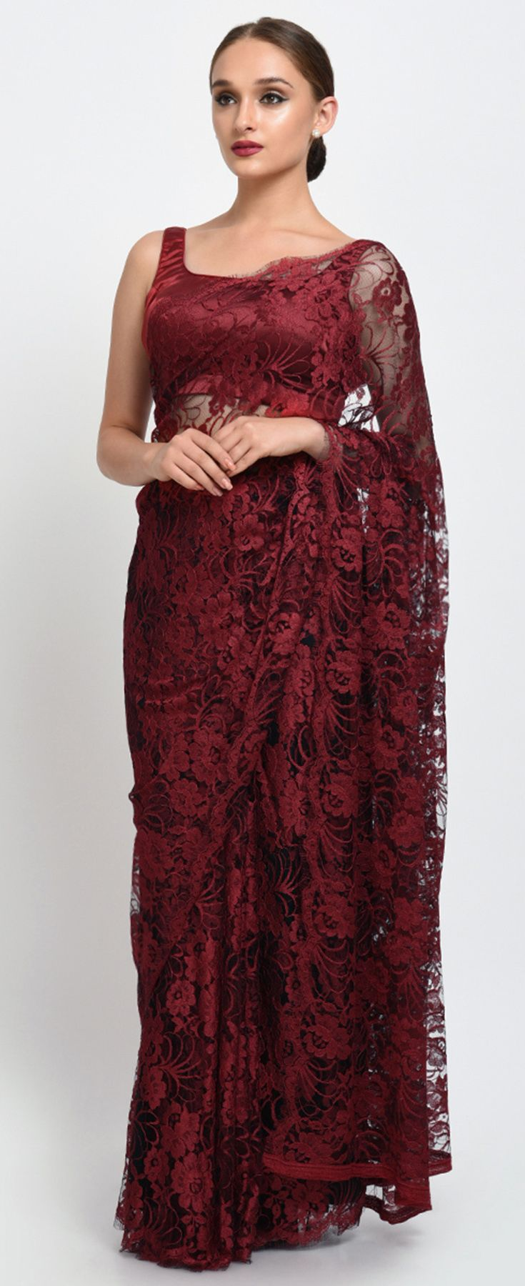 66e156d1be5 Maroon- Black French Chantilly Lace Saree With Satin Crepe Blouse ...
