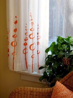free form painted curtains.  Ideas for a pattern to paint on my white curtains.