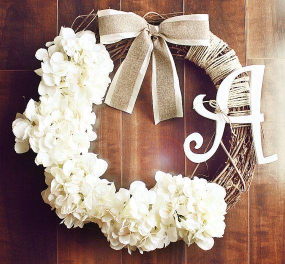 Monograma Branco Grinalda Grapevine Hydrangea com Satin & serapilheira Bow