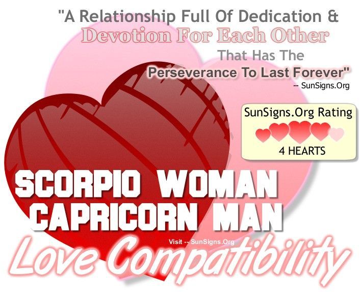 The one word that comes to mind for the partnership between the Scorpio woman and the Capricorn man is dedication.