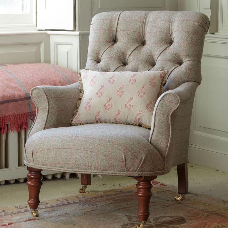 Lichen/Red Check Herringbone Wool Tweed Fabric   Susie Watson Designs