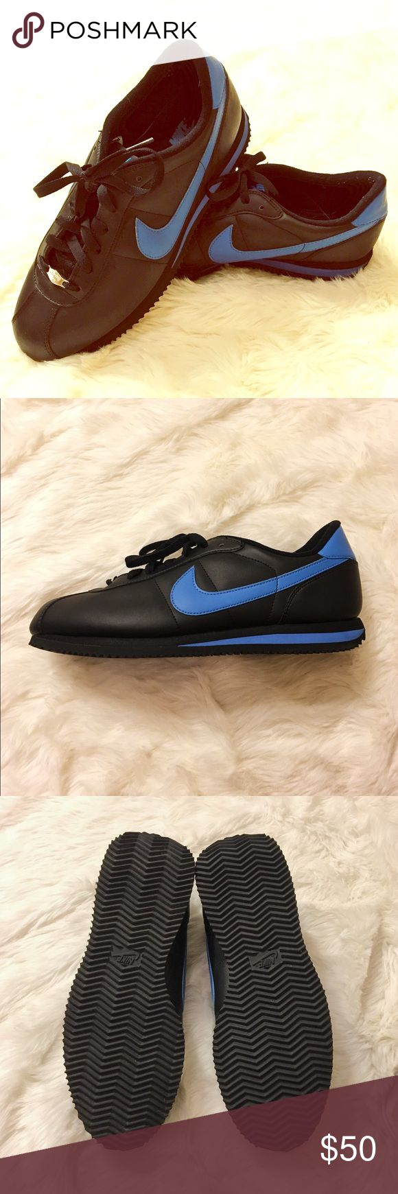 NWB Nike Cortez Leather Sneakers Nike Cortez Leather sneakers. Size 10 in Black/Photo Blue. BRAND NEW! Only worn to try on the size around carpet at home. Comes with original box. Classic sneakers good to wear all year round!  $65 MSRP Nike Shoes Sneakers