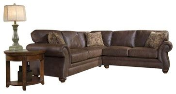 Broyhill Laramie 2 Piece Sectional Sofa with Cherry Wood Finish - transitional - Sectional Sofas - Cymax
