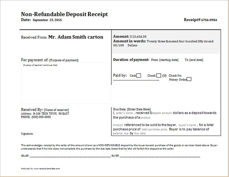 Non Refundable Deposit Receipt DOWNLOAD free at    www - down payment receipt