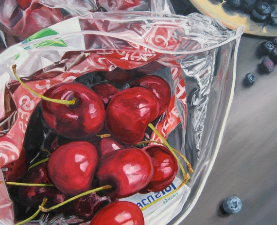 Heather McCaw: Cherries and Blueberries  Looks like a Janet Fish work!
