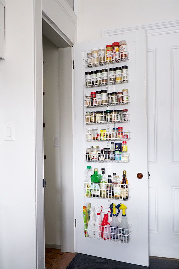Executing on this idea: space-saving storage idea for the pantry door.