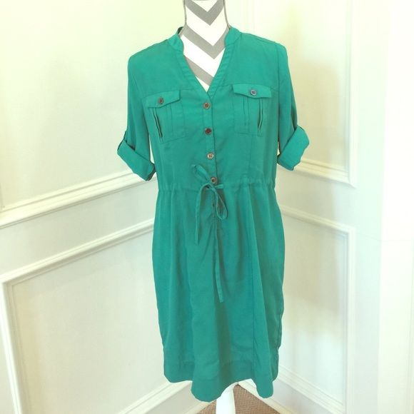 Mint Green Shirt Dress Excellent condition!  100% Polyester. Trades PayPal Beige by eci Dresses