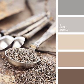 Aquí vemos una combinación clásica de colores gris, beige y marrón.  El chocolate oscuro y el marrón claro brindan un toque cálido a dicho esquema de color.  Estos tonos pastel son una acertada opción para cafeterías, restaurantes y cocinas.  Aportará elegancia a tu look de invierno o otoño.