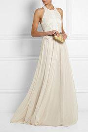 Elie SaabGuipure lace-appliquéd stretch-knit and silk-chiffon gown