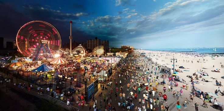 Artist Stephen Wilkes  created this cool artwork called Day to Night  – splitting the landscapes from AM to PM in the same photo! (Coney Island)