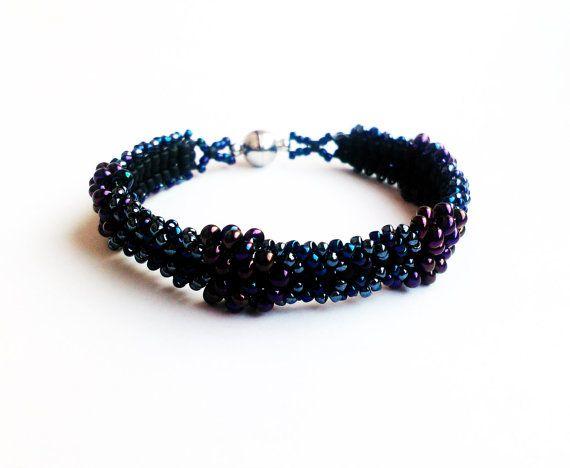 Dark Bracelet Black Beaded Bracelet Unique by DeerestJewelry