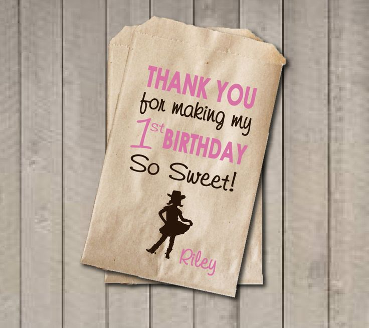 Girl Birthday Favor Bags, Pink & Brown Cowgirl Candy Bags, First Birthday…