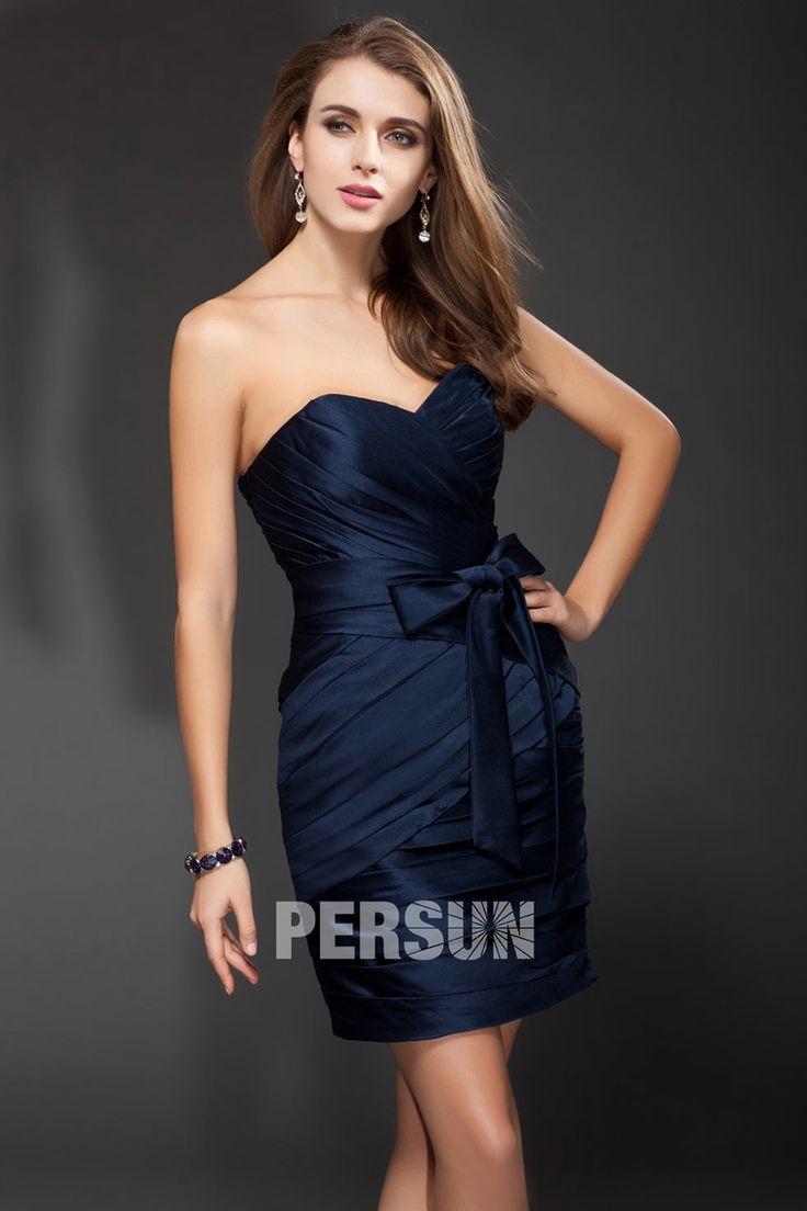 #Vestido de #Cóctel Corto #Sexy de Seda Como Satén con Lazos #Escote Corazón Corte Recto - Persun.es