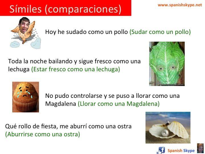 Metáforas en español: En español existen muchas expresiones idiomáticas basadas en símiles o comparaciones. Un símil es una figura que consiste en comparar expresamente una cosa con otra, para dar idea viva y eficaz de una de ellas, por ejemplo: – Sudar como un pollo