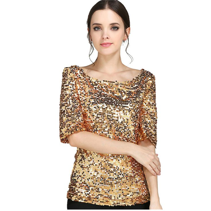 S 5XL Women Sequined T shirt European Summer Hot Sale Half Sleeve T shirts Plus Size on http://ali.pub/vntm8