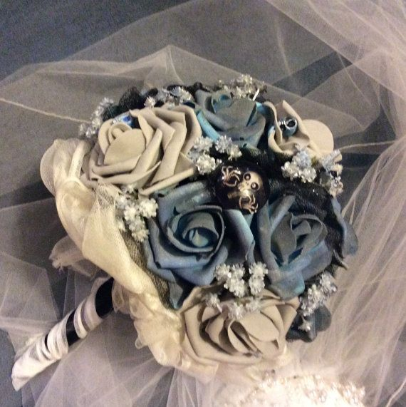CORPSE BRIDE Wedding Bouquet-Tim Burton Theme Bouquet-Bridal Bouquet,Blue/Grey/Black,Halloween Wedding Flowers-Halloween Wedding Bouquet