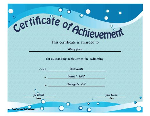swim certificates  35 best Sports Certificates | Awards images on Pinterest ...