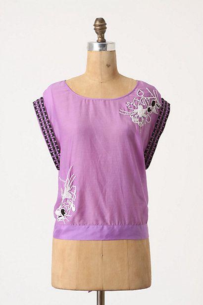 Only $27! LIEFNOTES Anthropologie Purple Beaded Embroidered FERREN Top Shirt Blouse sz 10 #shopmodo #modoboutique