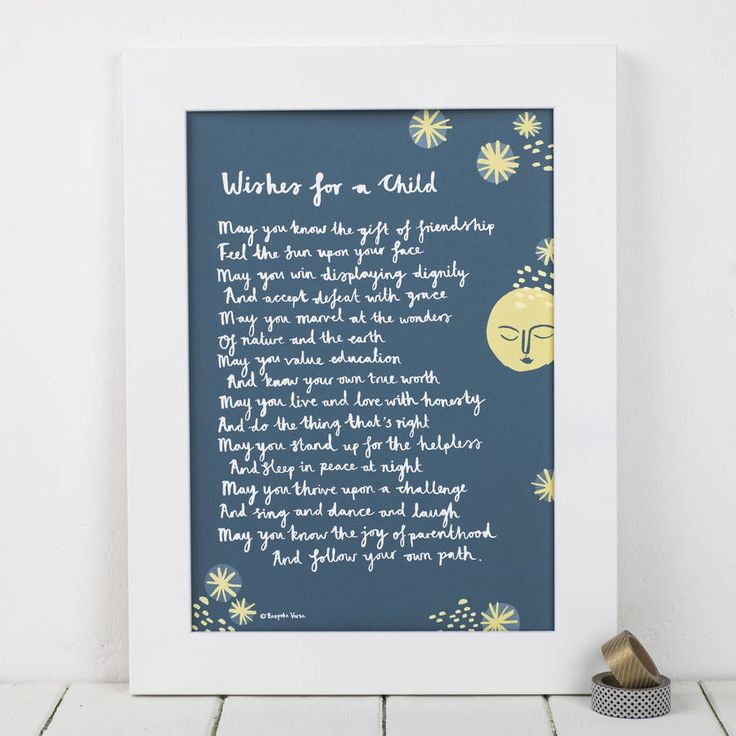 'wishes for a child' godparent poem print by bespoke verse…