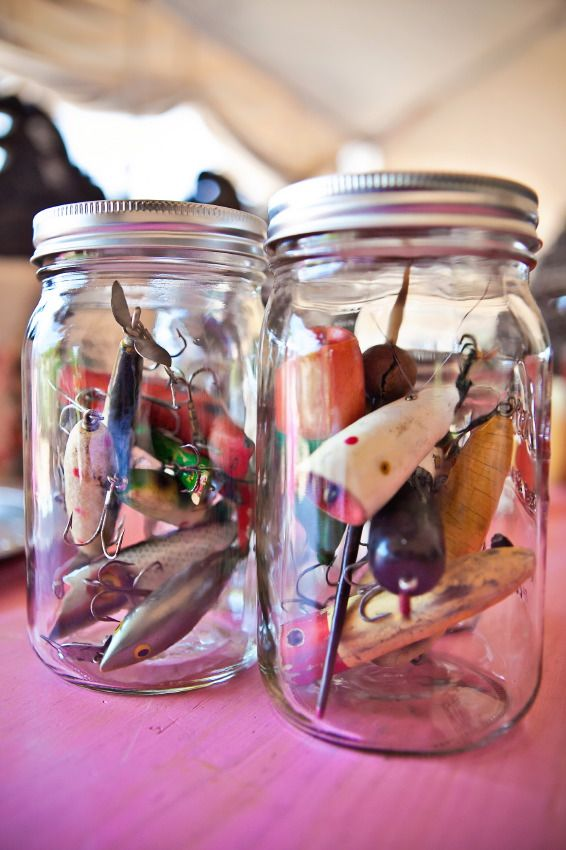 Cute favor idea...assortment of fishing lures in a jar, colorful, rustic, useful, different.