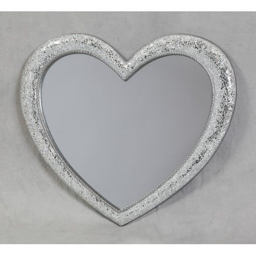 Mosaic Crackle Glass Heart Wall Mirror Medium