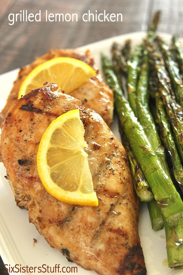 Grilled Lemon Chicken on SixSistersStuff.com is perfect for dinner tonight!