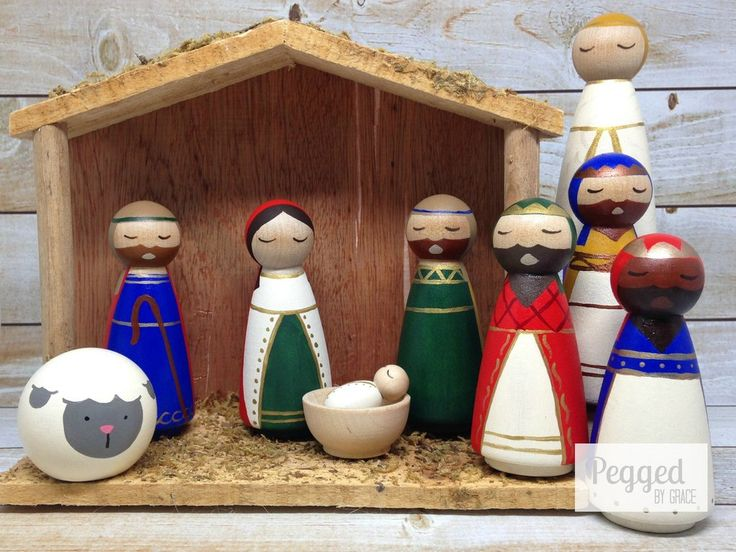 The Regal Nativity Peg Doll Set - I loved the sheep's face and then wise men's clothes.