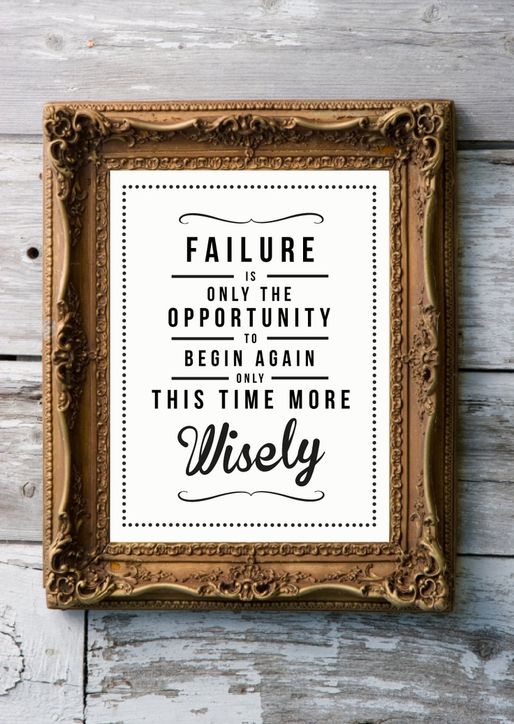 Retro Inspirational Quote Giclee Art Print - Vintage Typography Decor - Customize - Failure Opportunity to Begin UK. £20.00, via Etsy.