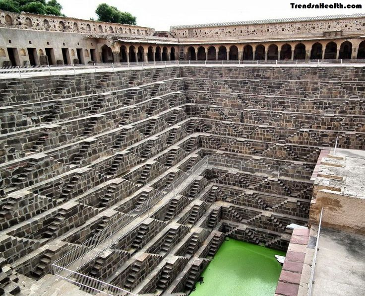 In Rajasthan, India there is an ancient well of stairs named Chand Baori. This well was built by King Chanda of Nikumbha Dynasty and is very old. It is believed that it was built between 800 AD to 900 AD. The step well in around 20 meters deep and has around 3500 narrow steps arranged in perfect symmetry. During rains, the Step well used to get filled with rainwater.