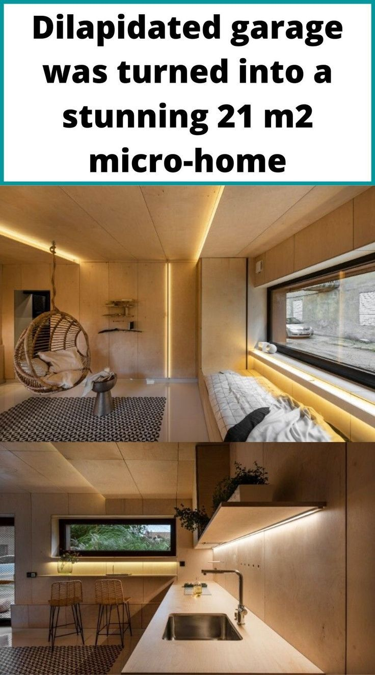 Dilapidated Garage Was Turned Into A Stunning 21 M2 Micro Home In 2020 Micro House Dilapidated Tiny House Company