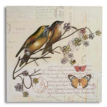 Bird On Branch Hessian Wall Art   Dunelm
